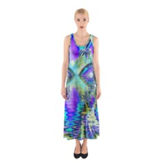 Abstract Peacock Celebration, Golden Violet Teal Full Print Maxi Dress