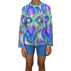 Abstract Peacock Celebration, Golden Violet Teal Kid s Long Sleeve Swimwear