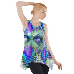 Abstract Peacock Celebration, Golden Violet Teal Side Drop Tank Tunic