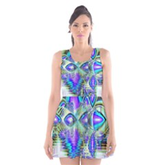 Abstract Peacock Celebration, Golden Violet Teal Scoop Neck Skater Dress