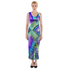Abstract Peacock Celebration, Golden Violet Teal Fitted Maxi Dress