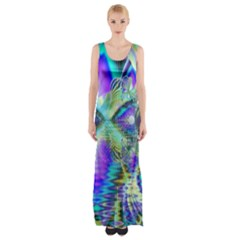 Abstract Peacock Celebration, Golden Violet Teal Maxi Thigh Split Dress