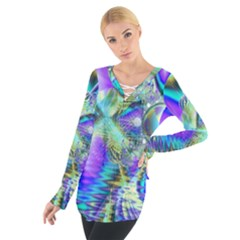 Abstract Peacock Celebration, Golden Violet Teal Women s Tie Up Tee