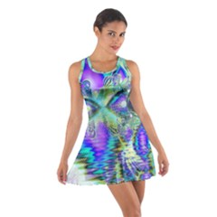 Abstract Peacock Celebration, Golden Violet Teal Racerback Dresses