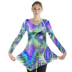Abstract Peacock Celebration, Golden Violet Teal Long Sleeve Tunic