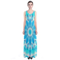 Blue Ice Goddess, Abstract Crystals Of Love Full Print Maxi Dress