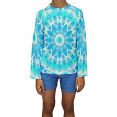 Blue Ice Goddess, Abstract Crystals Of Love Kid s Long Sleeve Swimwear