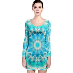 Blue Ice Goddess, Abstract Crystals Of Love Long Sleeve Bodycon Dress
