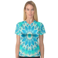 Blue Ice Goddess, Abstract Crystals Of Love Women s V Neck Sport Mesh Tee