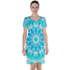 Blue Ice Goddess, Abstract Crystals Of Love Short Sleeve Nightdress