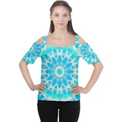Blue Ice Goddess, Abstract Crystals Of Love Women s Cutout Shoulder Tee