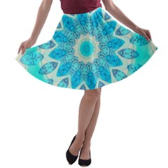 Blue Ice Goddess, Abstract Crystals Of Love A Line Skater Skirt