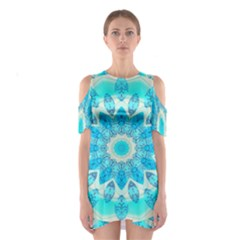 Blue Ice Goddess, Abstract Crystals Of Love Cutout Shoulder Dress