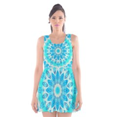 Blue Ice Goddess, Abstract Crystals Of Love Scoop Neck Skater Dress