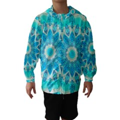 Blue Ice Goddess, Abstract Crystals Of Love Hooded Wind Breaker (Kids)