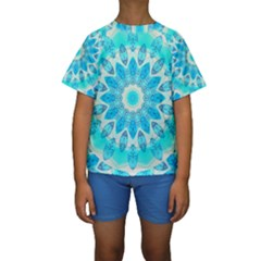 Blue Ice Goddess, Abstract Crystals Of Love Kid s Short Sleeve Swimwear