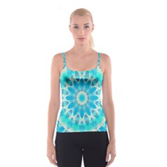 Blue Ice Goddess, Abstract Crystals Of Love Spaghetti Strap Top