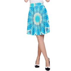Blue Ice Goddess, Abstract Crystals Of Love A Line Skirt