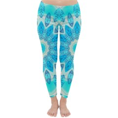 Blue Ice Goddess, Abstract Crystals Of Love Winter Leggings