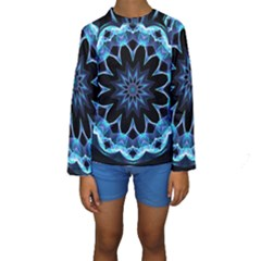 Crystal Star, Abstract Glowing Blue Mandala Kid s Long Sleeve Swimwear