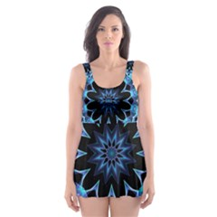 Crystal Star, Abstract Glowing Blue Mandala Skater Dress Swimsuit