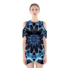 Crystal Star, Abstract Glowing Blue Mandala Cutout Shoulder Dress