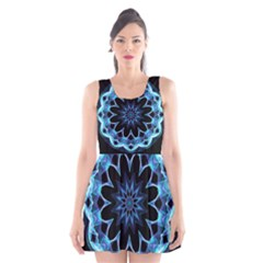 Crystal Star, Abstract Glowing Blue Mandala Scoop Neck Skater Dress