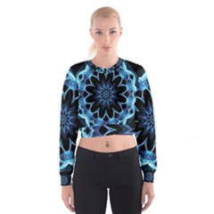 Crystal Star, Abstract Glowing Blue Mandala Women s Cropped Sweatshirt