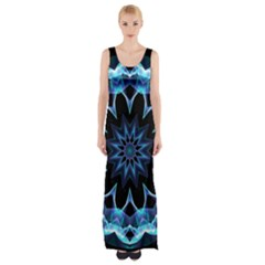 Crystal Star, Abstract Glowing Blue Mandala Maxi Thigh Split Dress