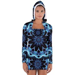 Crystal Star, Abstract Glowing Blue Mandala Women s Long Sleeve Hooded T Shirt