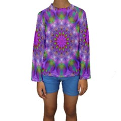 Rainbow At Dusk, Abstract Star Of Light Kid s Long Sleeve Swimwear