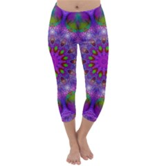 Rainbow At Dusk, Abstract Star Of Light Capri Winter Leggings