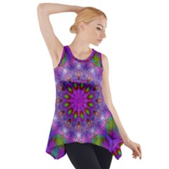 Rainbow At Dusk, Abstract Star Of Light Side Drop Tank Tunic