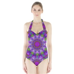 Rainbow At Dusk, Abstract Star Of Light Women s Halter One Piece Swimsuit