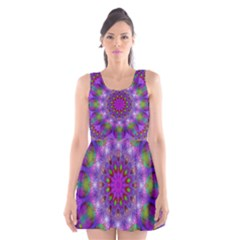 Rainbow At Dusk, Abstract Star Of Light Scoop Neck Skater Dress