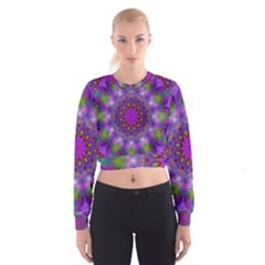 Rainbow At Dusk, Abstract Star Of Light Women s Cropped Sweatshirt