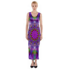 Rainbow At Dusk, Abstract Star Of Light Fitted Maxi Dress