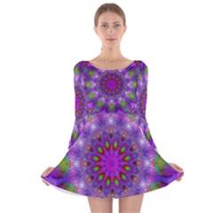 Rainbow At Dusk, Abstract Star Of Light Long Sleeve Velvet Skater Dress
