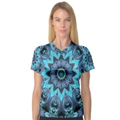 Star Connection, Abstract Cosmic Constellation Women s V Neck Sport Mesh Tee