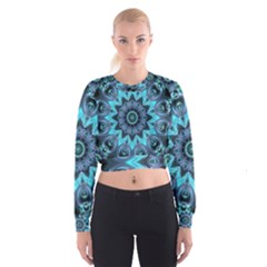 Star Connection, Abstract Cosmic Constellation Women s Cropped Sweatshirt