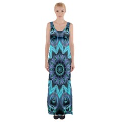 Star Connection, Abstract Cosmic Constellation Maxi Thigh Split Dress
