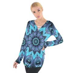 Star Connection, Abstract Cosmic Constellation Women s Tie Up Tee