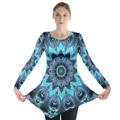 Star Connection, Abstract Cosmic Constellation Long Sleeve Tunic