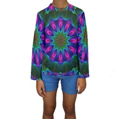 Star Of Leaves, Abstract Magenta Green Forest Kid s Long Sleeve Swimwear