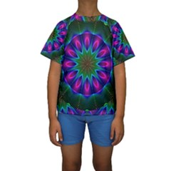 Star Of Leaves, Abstract Magenta Green Forest Kid s Short Sleeve Swimwear