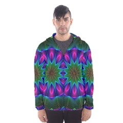 Star Of Leaves, Abstract Magenta Green Forest Hooded Wind Breaker (men)