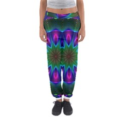 Star Of Leaves, Abstract Magenta Green Forest Women s Jogger Sweatpants
