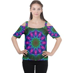 Star Of Leaves, Abstract Magenta Green Forest Women s Cutout Shoulder Tee