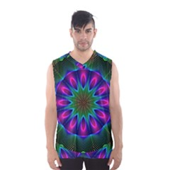 Star Of Leaves, Abstract Magenta Green Forest Men s Basketball Tank Top