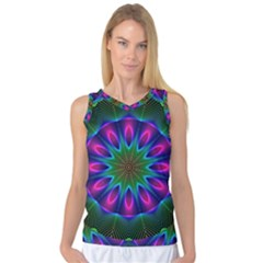 Star Of Leaves, Abstract Magenta Green Forest Women s Basketball Tank Top